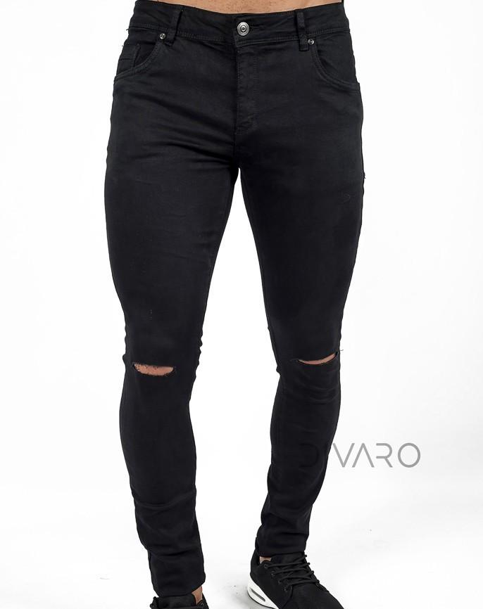 Pantalon Denim Skinny Fit Roto En Rodillas Color Negro